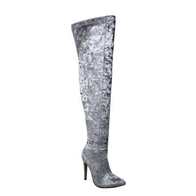 Michael Antonio Womens Trinity-Vel Over the Knee Boots Stiletto Heel Pull-on
