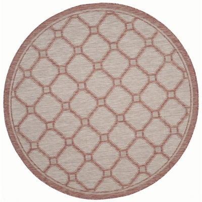 Safavieh Courtyard Collection Corrine Oriental Indoor/Outdoor Round Area Rug