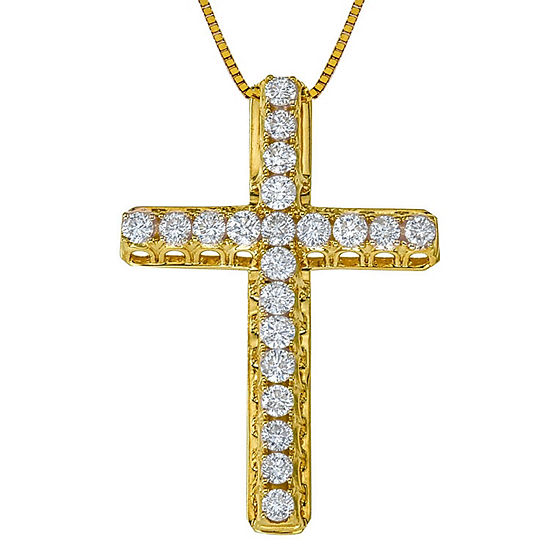 Womens 1/2 CT. T.W. Genuine White Diamond 14K Gold Cross Pendant Necklace
