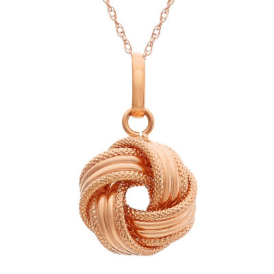 Made In Italy Womens 14K Rose Gold Knot Pendant Necklace