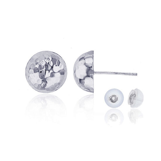 14K White Gold 10mm Stud Earrings