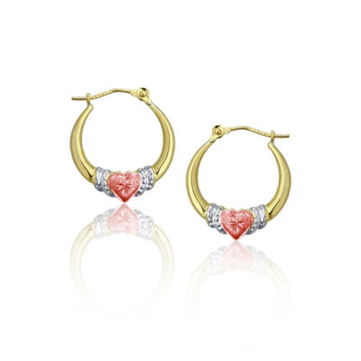 14K Tri-Color Gold 18mm Heart Hoop Earrings