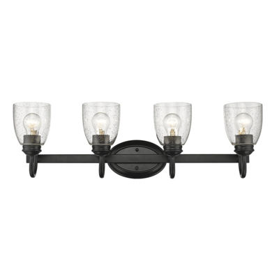 Parrish 4-Light Bath Vanity in Black with Seeded Glass