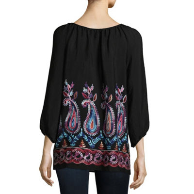 Alyx 3/4 Sleeve Scoop Neck Woven Blouse