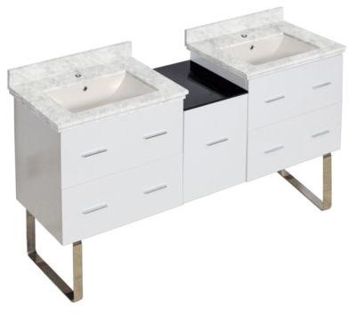 61.5-in. W Floor Mount White Vanity Set For 1 HoleDrilling Bianca Carara Top Biscuit UM Sink