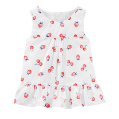 Oshkosh Round Neck Sleeveless Blouse - Baby Girls