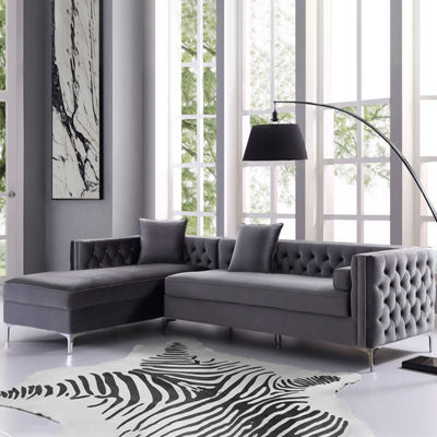 Inspired Home Olivia Velvet Modern Contemporary Button Tufted with Silver Nailhead Trim Metal Y-leg Left Facing Chaise Sectional Sofa