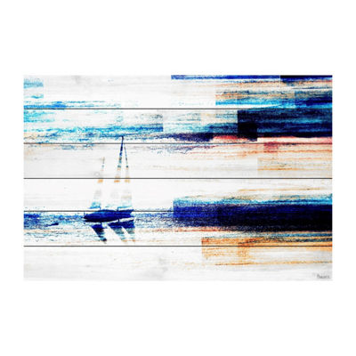 Aegean Sea Painting Print on White Wood