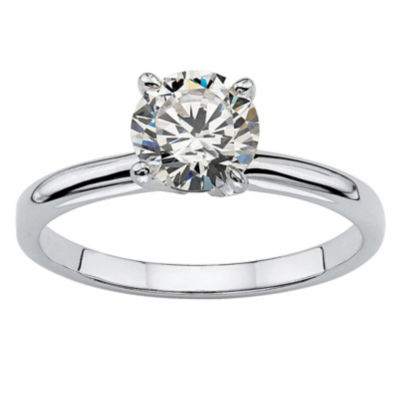 Diamonart Womens 1 1/10 CT. T.W.  White Cubic Zirconia Sterling Silver Round Engagement Ring