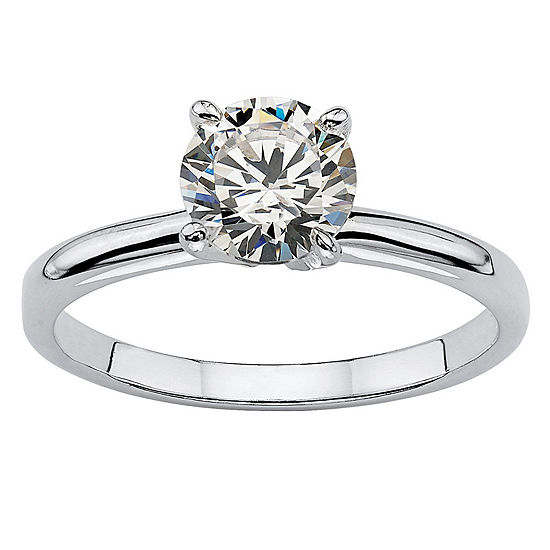 DiamonArt® Womens 1 1/10 CT. T.W.  White Cubic Zirconia Sterling Silver Round Engagement Ring