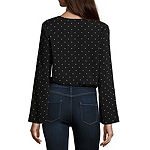 Arizona Womens V Neck Long Sleeve Blouse-Juniors