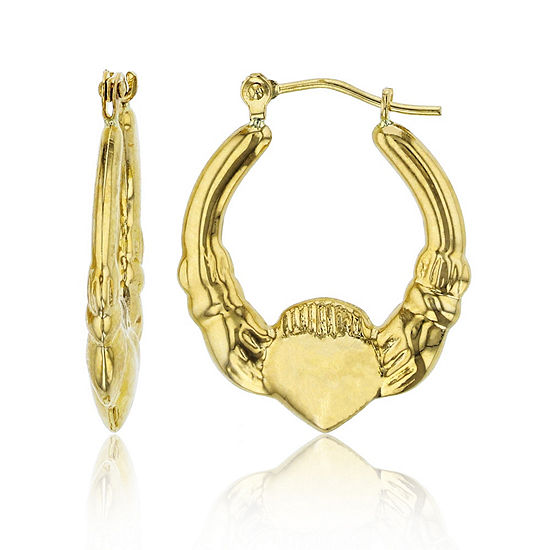 14K Gold 23mm Claddagh Hoop Earrings