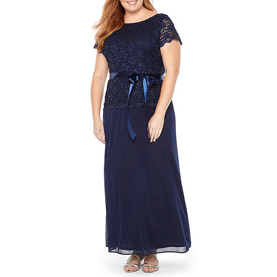 Blu Sage Short Sleeve Cowl Back Lace Top Evening Gown - Plus