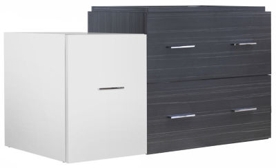 37.25-in. W 17.8-in. D Modern Wall Mount Plywood-Melamine Vanity Base Set Only In White-Dawn Grey