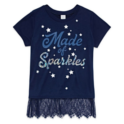 Arizona Short Sleeve Lace Hem Graphic Tee - Girls' 4-16 & Plus