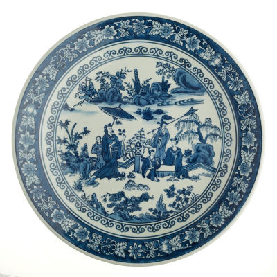 Two's Company Blue And White Lady With Parasol Scene Decorative Plate