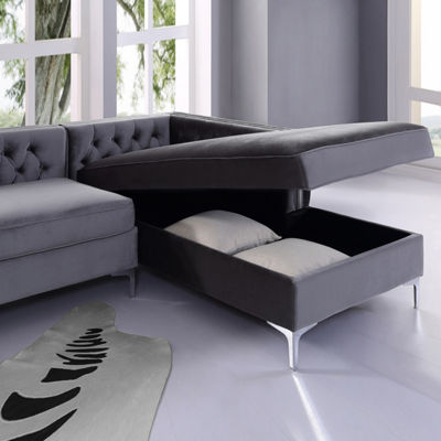 Inspired Home Olivia Velvet Modern Contemporary Button Tufted with Silver Nailhead Trim Metal Y-leg Right Facing Chaise Sectional Sofa