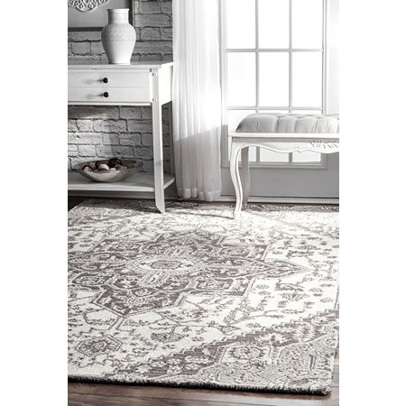nuLoom Dewitt Floral Wool Hand Tufted Handmade Area Rug, One Size , Gray