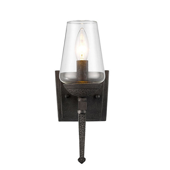 Marcellis 1-Light Wall Sconce in Dark Natural Ironwith Clear Glass