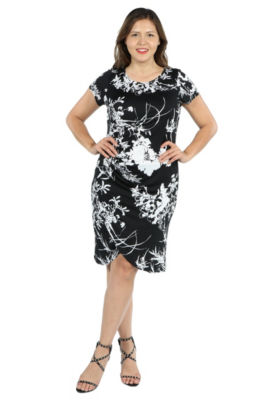 24Seven Comfort Apparel Diana Black and White Dress - Plus