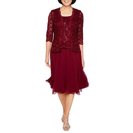 R&M Richards 3/4 Sleeve Lace Chiffon Jacket Dress