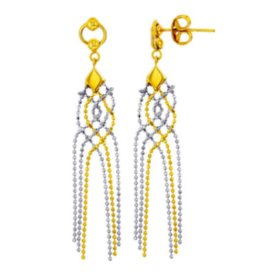 14K Two Tone Gold Chandelier Earrings