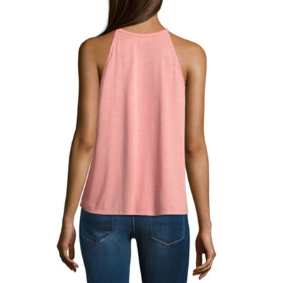 Love More Sleeveless High Neck Jersey Blouse-Juniors Plus