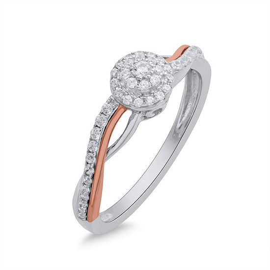 Promise My Love Womens 1/4 CT. T.W. Genuine White Diamond 10K Two Tone Gold Promise Ring