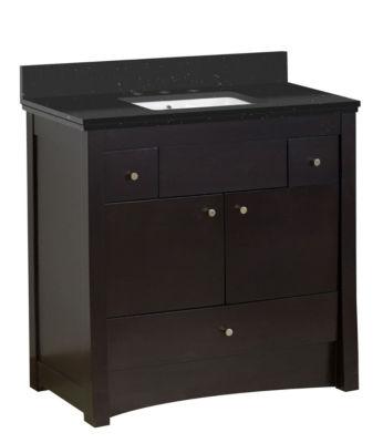36-in. W Floor Mount Distressed Antique Walnut Vanity Set For 3H8-in. Drilling Black Galaxy Top White UM Sink