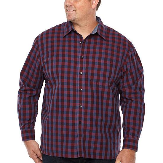 Van Heusen Big and Tall Never Tuck Woven Mens Long Sleeve Dots Button-Down Shirt