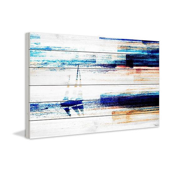 Aegean Sea Painting Print On White Wood
