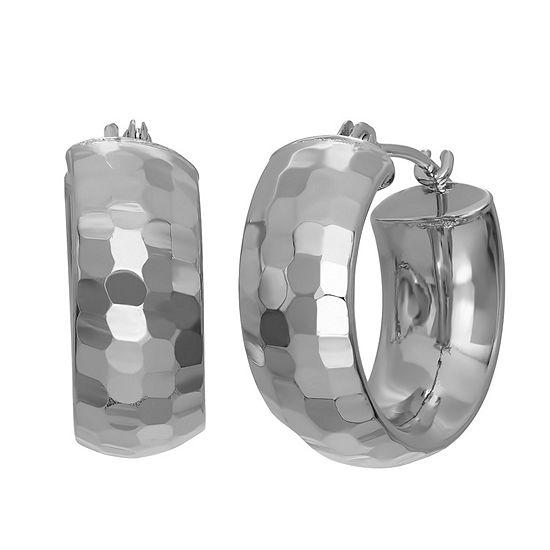 14K White Gold 3mm Hoop Earrings