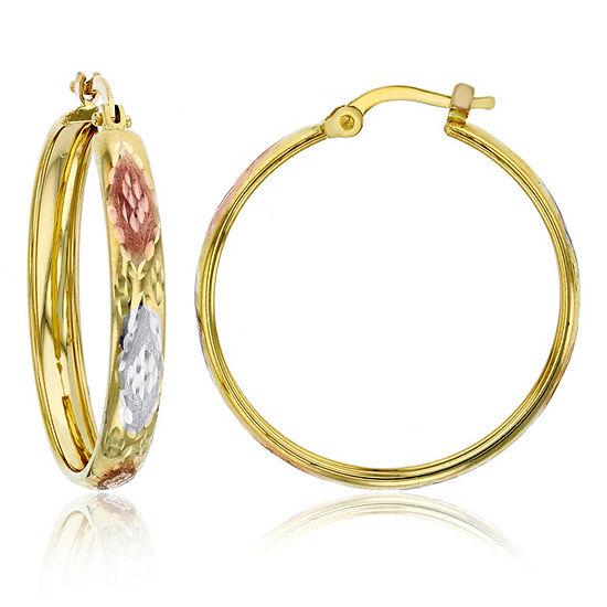 14K Tri-Color Gold 25mm Hoop Earrings