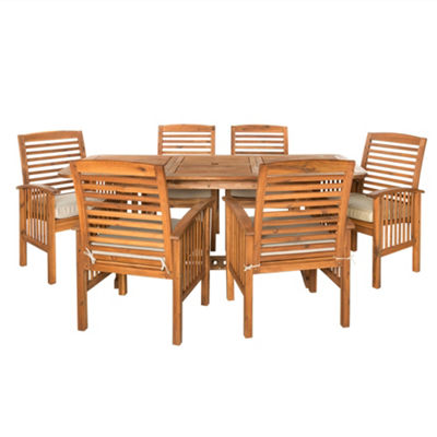 Acacia Wood 7-pc. Patio Dining Set with Cushions
