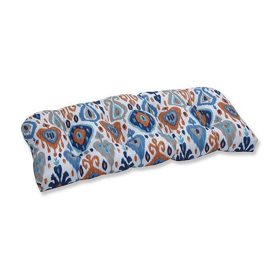 Pillow Perfect Paso Azure Wicker Patio Loveseat Cushion