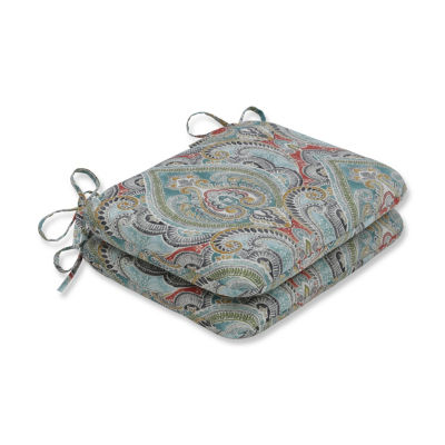 Pillow Perfect Set of 2 Pretty Witty Reef Rounded Corners Patio Seat Cushion