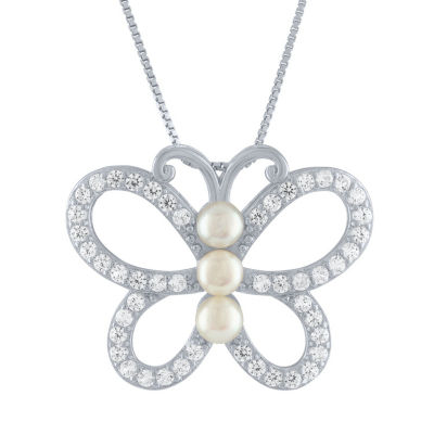Womens White Pearl Sterling Silver Pendant Necklace