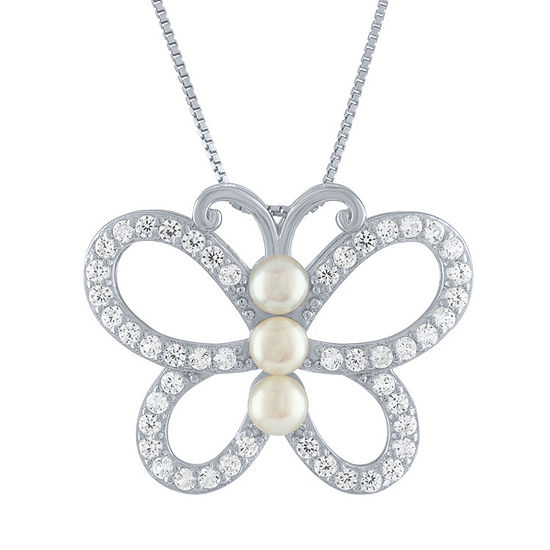 Womens White Cultured Freshwater Pearl Sterling Silver Butterfly Pendant Necklace