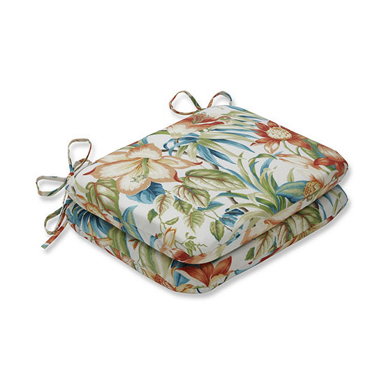 Pillow Perfect Set of 2 Botanical Glow Tiger Lily Rounded Corners Patio Seat Cushion