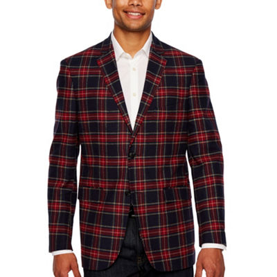U.S. Polo Assn. Blue and Red Tartan Classic Fit Sport Coat