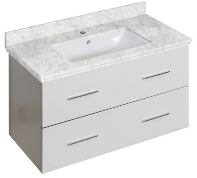 36-in. W Wall Mount White Vanity Set For 1 Hole Drilling Bianca Carara Top White UM Sink