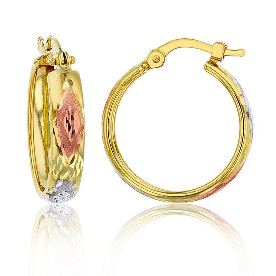 14k Tri Color Gold 15mm Hoop Earrings