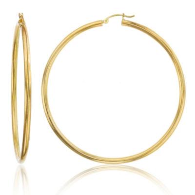 14K Gold 70mm Hoop Earrings