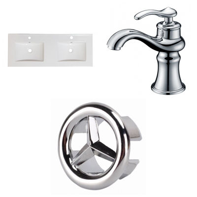 59-in. W 1 Hole Ceramic Top Set In White Color - CUPC Faucet Incl.
