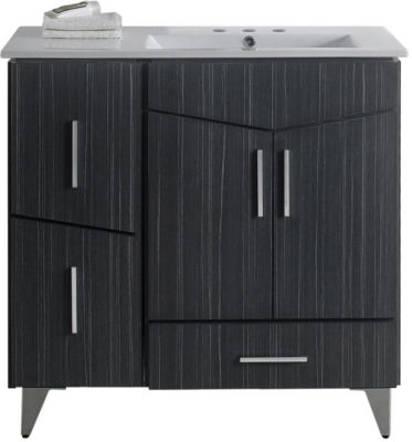 35.5-in. W Floor Mount Dawn Grey Vanity Set For 3H4-in. Drilling