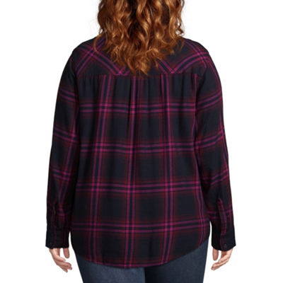 Arizona Loose Fit Long Sleeve Button-Front Shirt-Juniors Plus