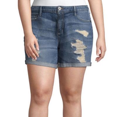 """Arizona 4 1/2"""" Destructed Roll Cuff Midi Shorts-Juniors"""