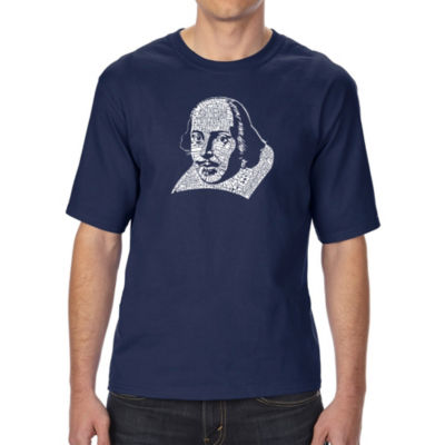Los Angeles Pop Art Men's Tall and Long Word Art T-shirt - THE TITLES OF ALL OF WILLIAM SHAKESPEARE'S COMEDIES & TRAGEDIES