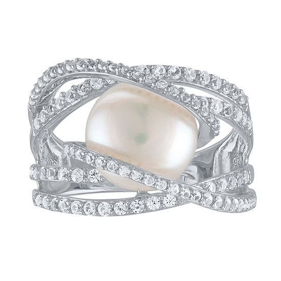 Womens 10MM White Cultured Freshwater Pearl Sterling Silver Cocktail Ring