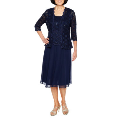 R&M Richards 3/4 Sleeve Lace Chiffon Jacket Dress